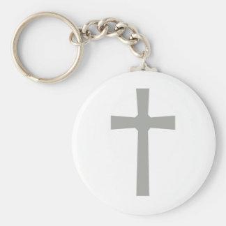 Croix 3 grise fond blanc keychain