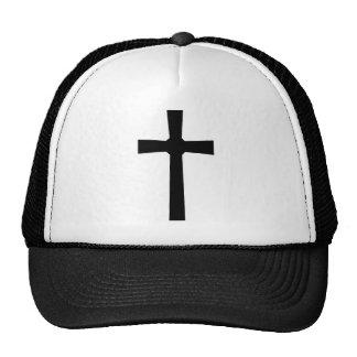 Croix 3 noire fond blanc mesh hat