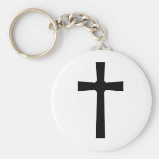 Croix 3 noire fond blanc keychain