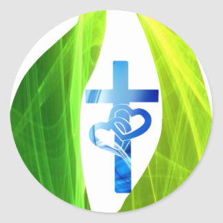 Croix bleue dans flamme verte classic round sticker