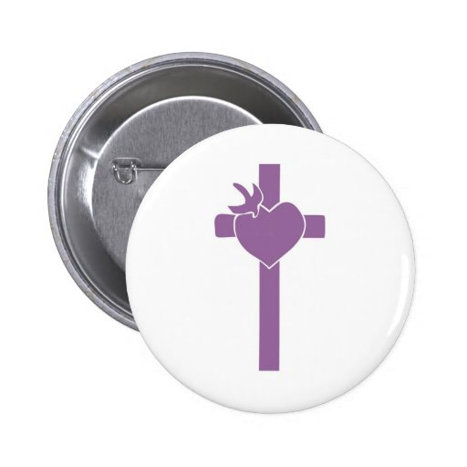 Croix coeur colombe violet fond blanc pin