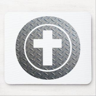 Croix dans cercle Métal Mouse Pad