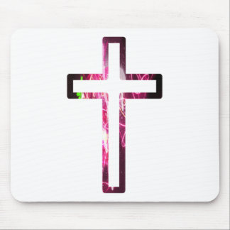 Croix reflets roses mouse pad