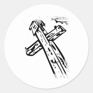 Croix sous le ciel classic round sticker