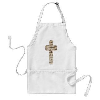 Croix sur écritures parchemin adult apron