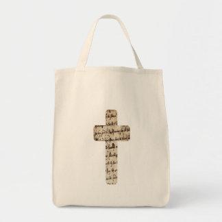 Croix sur écritures parchemin tote bag