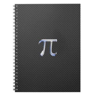 Cromo como símbolo del pi en la impresión de la libros de apuntes con espiral