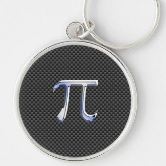 Cromo como símbolo del pi en la impresión de la llavero redondo plateado