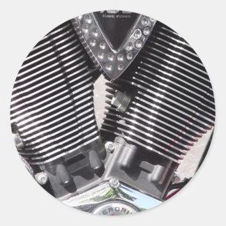 Cromo de la motocicleta y detalle pulidos del pegatina redonda