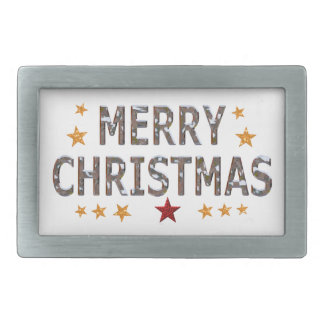 Cromo de las Felices Navidad Hebilla Cinturón Rectangular