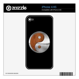 Cromo de madera Yang Skins Para iPhone 4