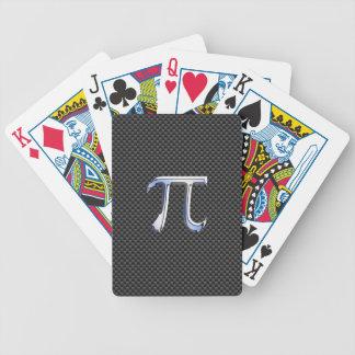 Cromo de plata como símbolo del pi en la impresión cartas de juego