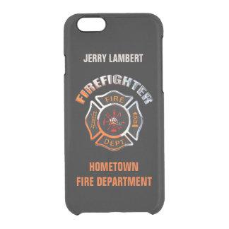 Cromo del bombero y plantilla conocida negra funda clear para iPhone 6/6S