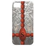 Cromo floral adornado y monograma rojo del reflejo iPhone 5 coberturas