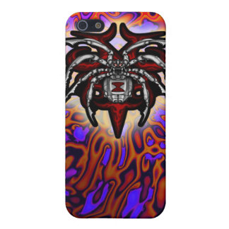 Cromo ilustrado araña de la viuda negra iPhone 5 cárcasas