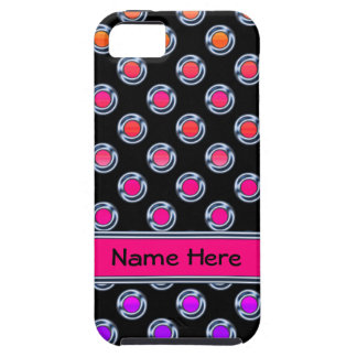 Cromo multicolor de los puntos en negro iPhone 5 Case-Mate carcasa