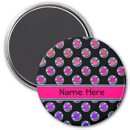 Cromo multicolor de los puntos en negro imán redondo 7 cm