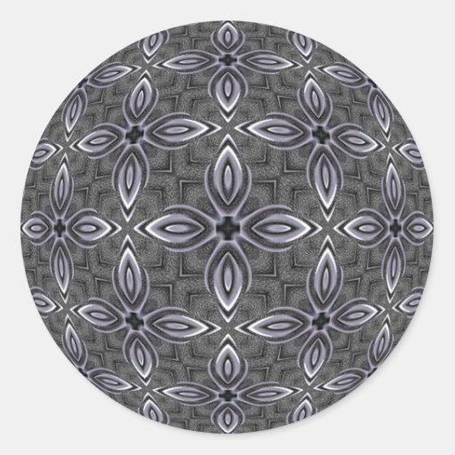 Cromo y acero pegatina redonda