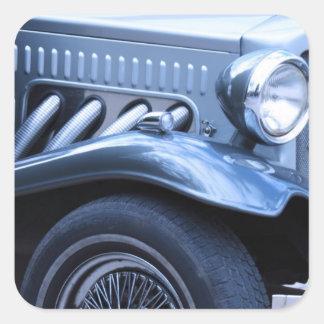 Cromo y luces antiguos del coche del vintage de Cl Calcomania Cuadradas