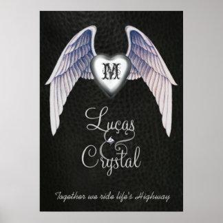 Cromo y poster con alas imitación de cuero del cor