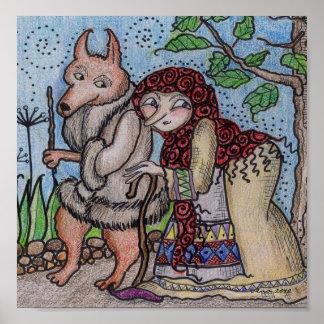 Crone and Wolfie Go for a Walk Ukrainian Folk Art Print
