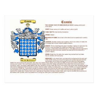 Cronin (meaning) postcard