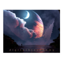 planets, water, astronaut, clouds, night, Postcard with custom graphic design