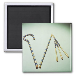 Crook and flail, from the Tomb of Tutankhamun 2 Inch Square Magnet