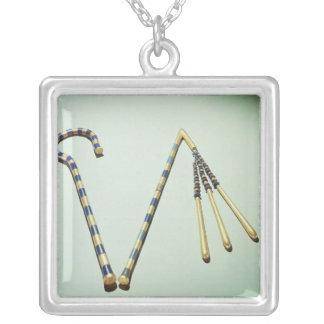 Crook and flail, from the Tomb of Tutankhamun Square Pendant Necklace