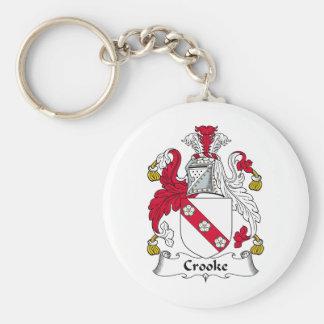 Crooke Family Crest Basic Round Button Keychain