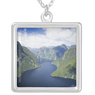 Crooked Arm, Malaspina Reach, Doubtful Sound, Square Pendant Necklace