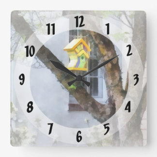 Crooked Bird House Square Wall Clock