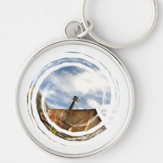 Crooked Cabin; No Text Silver-Colored Round Keychain