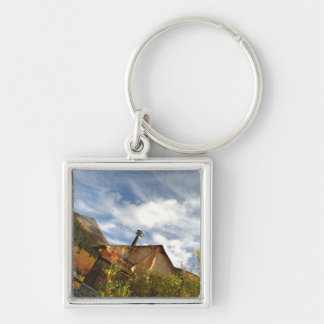 Crooked Cabin; No Text Silver-Colored Square Keychain