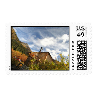 Crooked Cabin; No Text Postage Stamp
