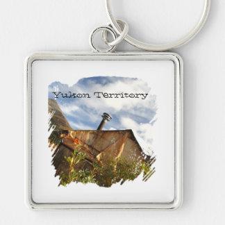 Crooked Cabin; Yukon Territory Souvenir Silver-Colored Square Keychain