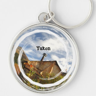 Crooked Cabin; Yukon Territory Souvenir Silver-Colored Round Keychain