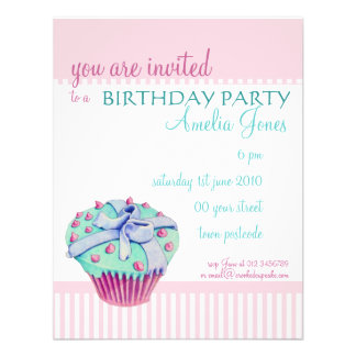 Crooked Cupcake Birthday Party Invitation