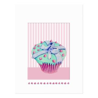 Crooked Cupcake pink Postcard