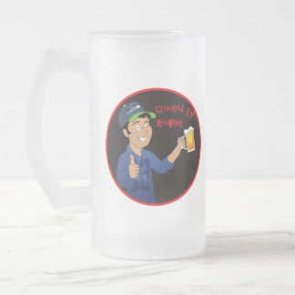Crooked eye brewing frosted glass beer mug