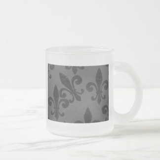 Crooked Fleur De Lis Frosted Glass Coffee Mug