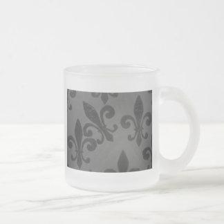 Crooked Fleur De Lis 10 Oz Frosted Glass Coffee Mug