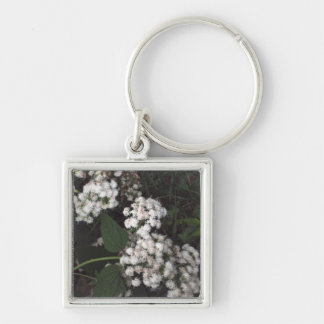 Crooked Flowers Silver-Colored Square Keychain