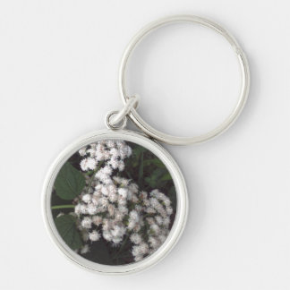 Crooked Flowers Silver-Colored Round Keychain