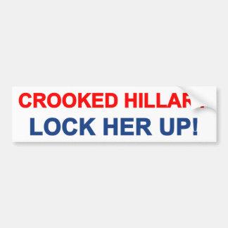 Crooked Hillary Lock Her Up Bumper Sticker