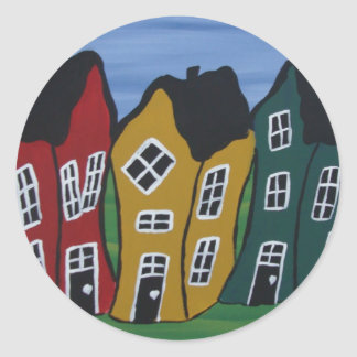 crooked houses classic round sticker