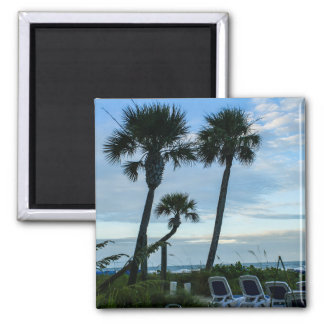 Crooked Palm Trees 2 Inch Square Magnet