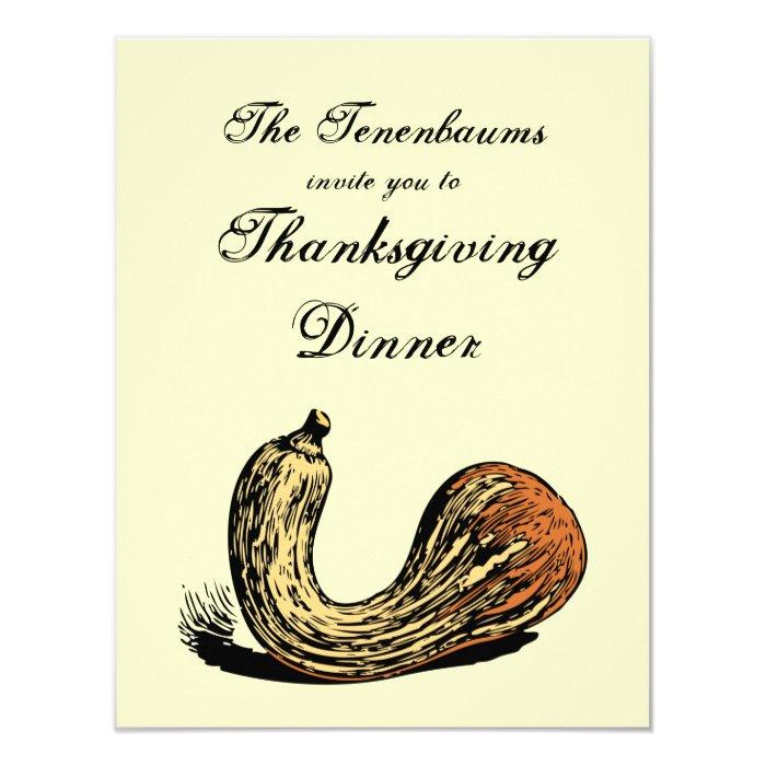 Crookneck Squash Thanksgiving Dinner Invitation