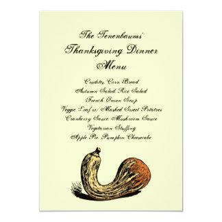 Crookneck Squash Thanksgiving Dinner Menu Card