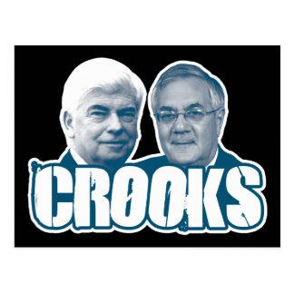 CROOKS: Chris Dodd and Barney Frank Postcard